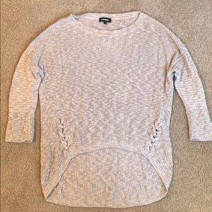 Tan express hi-low sweater size L